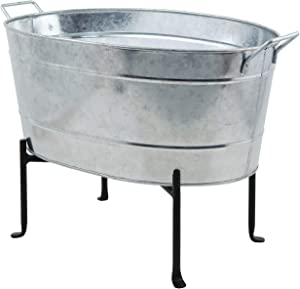 Achla Designs C-51-S1 Classic Oval Tub and Stand, Galvanized Steel and Black
