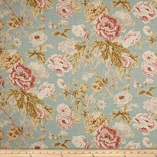 WAVERLY 0510883 Among The Roses Mist Fabric by The Yard,