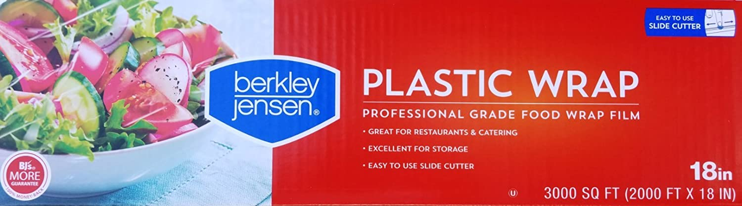 Berkley Jensen Professional Plastic Wrap with Cutter Slide 3000 Foot X 18 Inches Food Service Film (18 Inch)