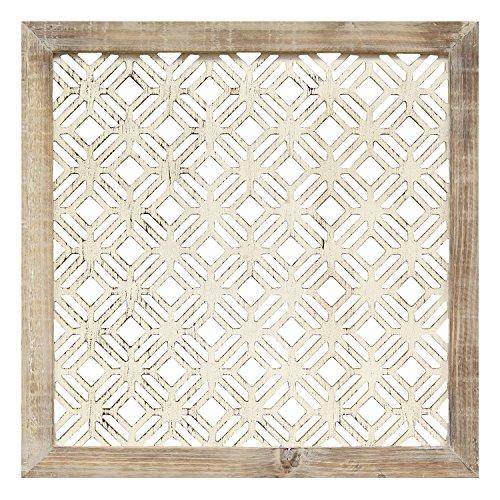 - Stratton Home Decor S01940 1 Piece Framed Laser-Cut Wall Decor, 16.00 W x 1.00 D x 16.00 H, Distressed White