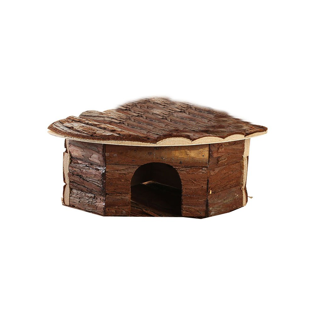 OMEM Wood House Hamster, Beautiful House. Easy to Clean, Suitable for Squirrels, Suction Cup Bracket, Natural Life Tunnel System, Small Animal House (Medium=32X13X21)