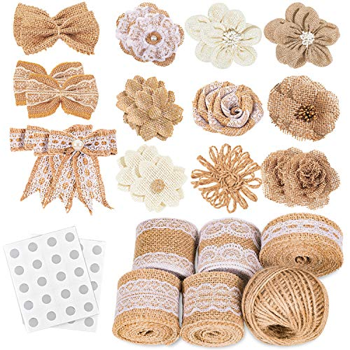 Whaline 30PCS Burlap Flowers Set, Include 5 Lace Burlap Ribbon Rolls, 24 Handmade Burlap Flowers and Bowknots, 1 Twine Ribbon and Glue Dots for Wedding Party Decor Home Embellishment DIY Crafts
