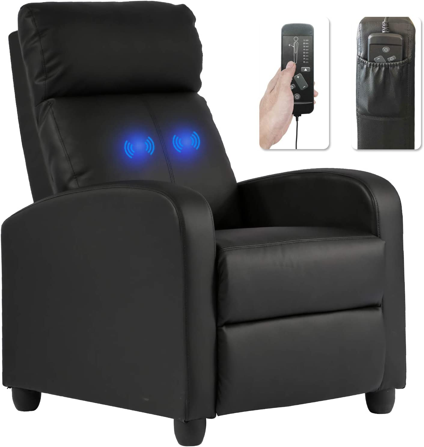 Recliner Chair for Living Room Massage Recliner Sofa Reading Chair Winback Single Sofa Home Theater Seating Modern Reclining Chair Easy Lounge with PU Leather Padded Seat Backrest: Furniture & Decor