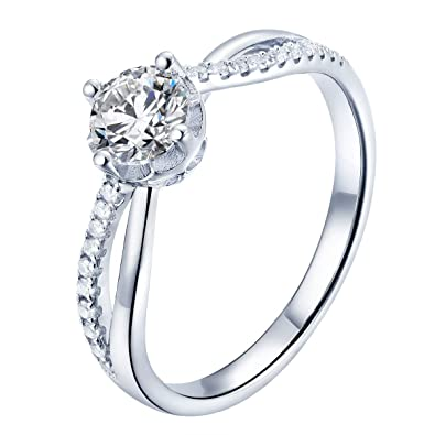 1adc8548a0b4f 925 Sterling Silver Ring, Cubic Zirconia CZ Diamond 0.5ct Eternity  Engagement Wedding Statement Ring