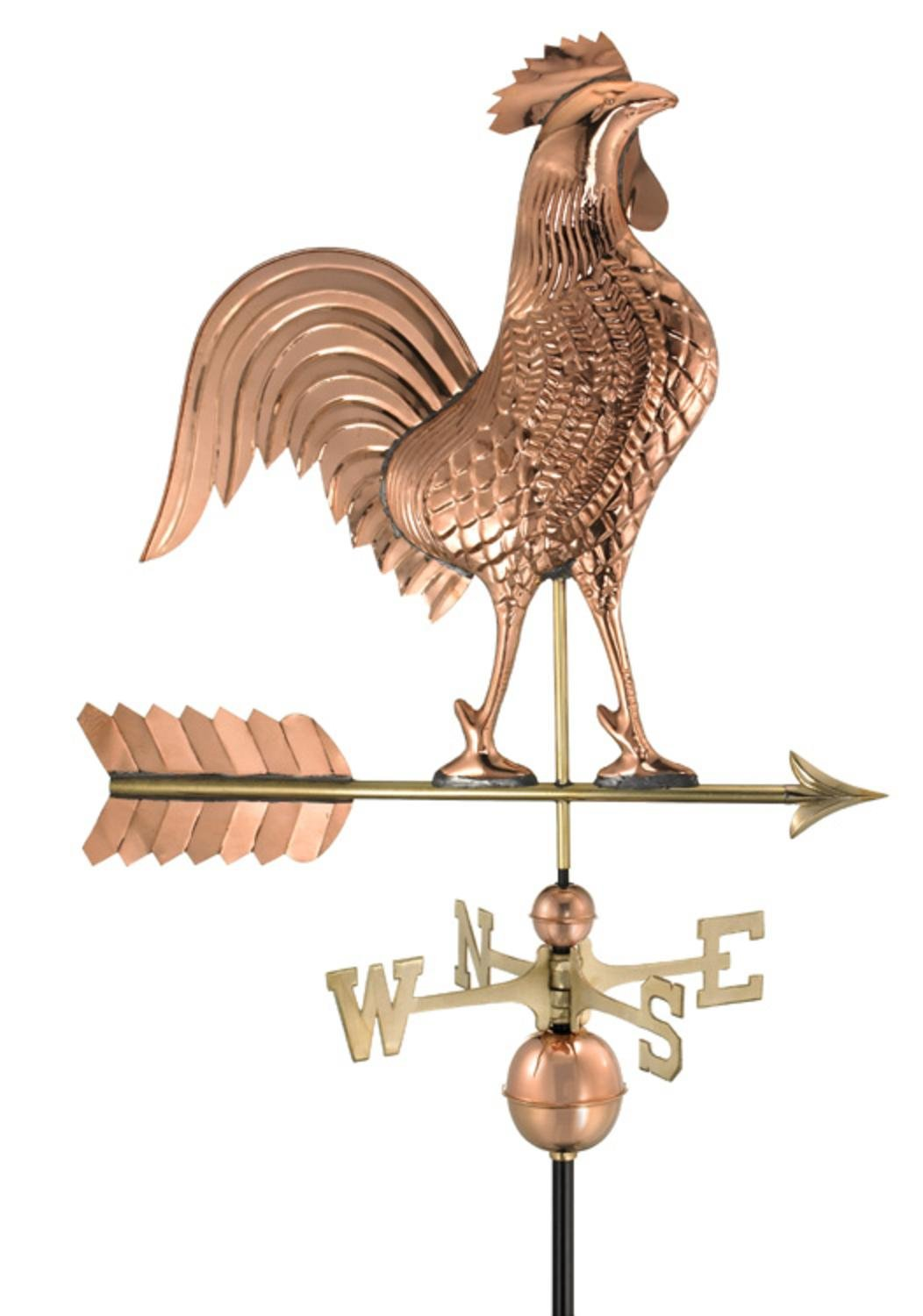 Good Directions Large Rooster Weathervane, Pure Copper