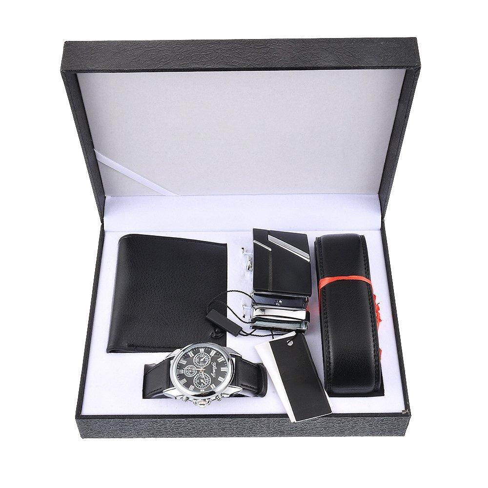 Amazon.com: Funique 1Set Men Pu Leather Quartz Watch Wallet Belt Gift Set: Watches