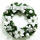 Christmas Garland for Stairs fireplaces Christmas Garland Decoration Xmas Festive Wreath Garland with Christmas wreath,60CM silver