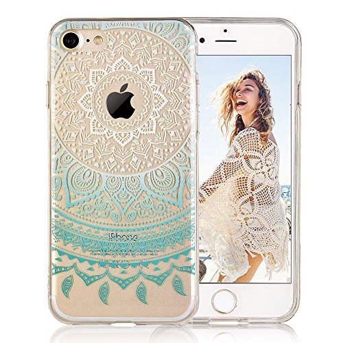 Design Mint - iPhone 7 case, iPhone 8 case, COSANO Premium Quality Henna Mandala Floral Case [Hard PC Back + Soft TPU Bumper] Crystal Clear Cute flowers design[Ultra thin] for iPhone 7/8 (4.7