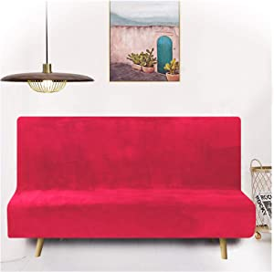 19V78 Velvet Futon Slipcover Stretch Armless Sofa Bed Cover Anti-Slip Protector for Couch Cover Without Armrests Home Decorative Furniture Protector, Rose Red