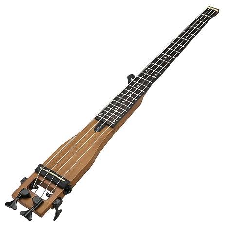 Anygig guitarra eléctrica bajo 24 diapasón 34 pulgadas Longitud portátil en madera natural design Équilibré para