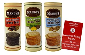 Mandy's Old Fashioned Cookie Thins 3 Flavor Variety, (1) each: Dark Chocolate, Zesty Lemon, Simply Sugar (4.6 Ounces)   Plus Recipe Booklet Bundle