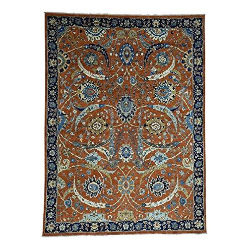 Antiqued Sickle Leaf Design Hand-Knotted Pure Wool Peshawar Rug (9'0