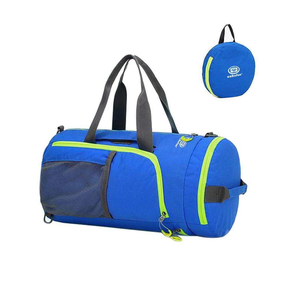 EchoFun Waterproof Nylon Duffel Bag Foldable Travel Luggage Barrel Gym Bag Holdall Sports Drybag Packable Backpack Shoulder Rucksack blue