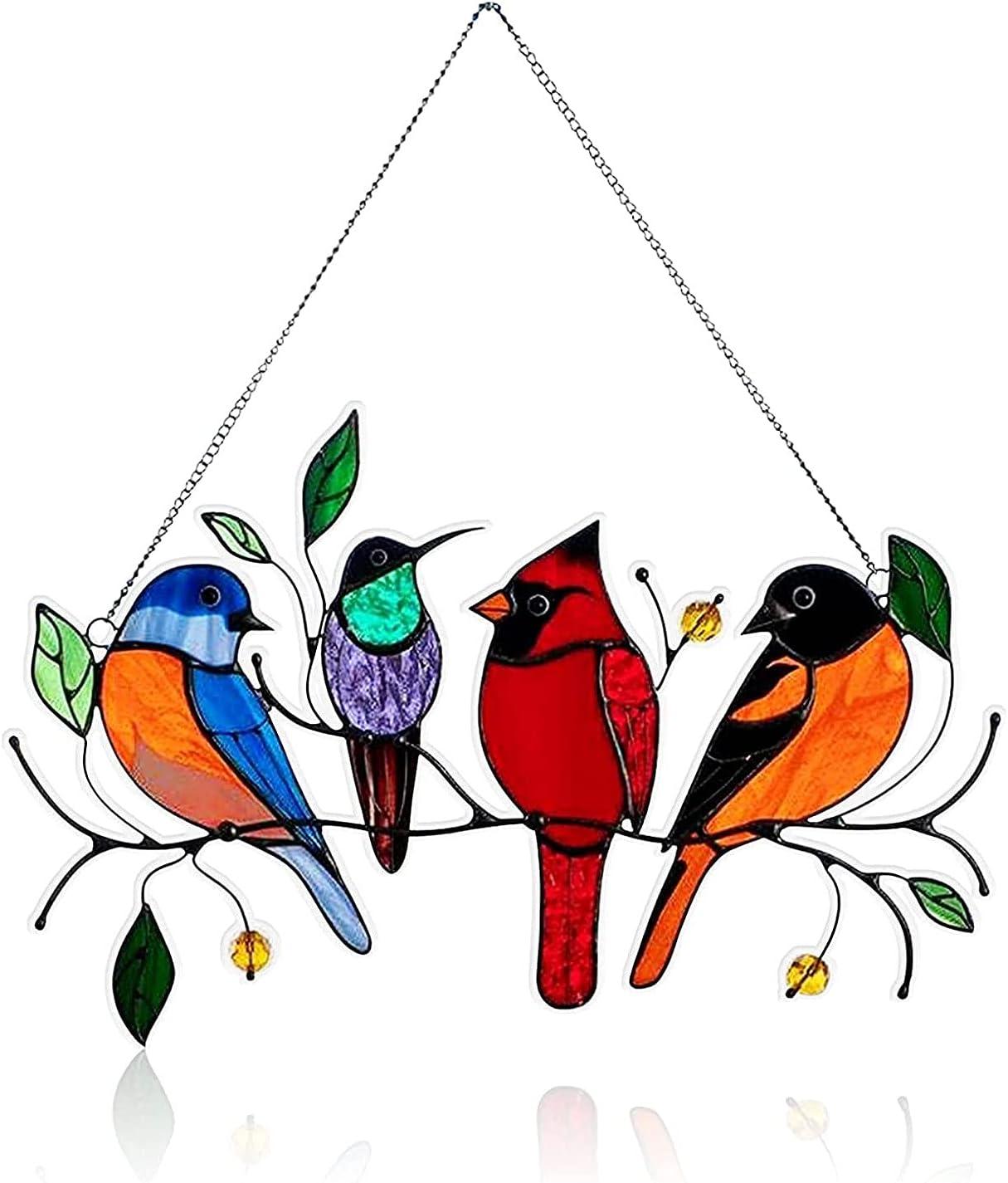 Garden Suncatcher,Multicolor Birds on a Wire High Stained Suncatcher Window Panel, Personality Birds Window Hangings Suncatchers,Bird Series Sculptures Pendant for Patio Yard (4 Bird)
