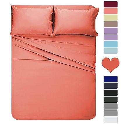 HOMEIDEAS 4 Piece Bed Sheet Set (Queen, Orange) 100% Brushed Microfiber 1800