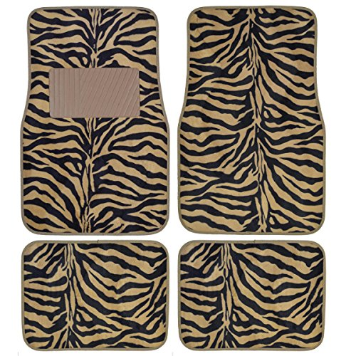 Zebra Floor Mats - BDK Zebra Stripe Animal Print Carpet for Cars / Trucks / Van / SUV Floor Mats -