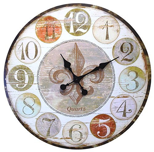 Lulu Decor, Rusty French Country Style Round Wood Wall Clock 23