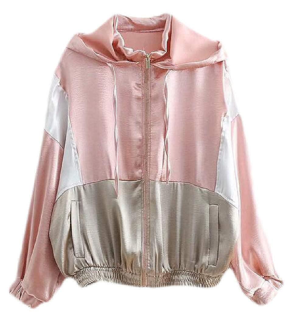 JXG Women Coat Jacket Color Block Zip-Up Long Sleeve Sweatshirts Hooded