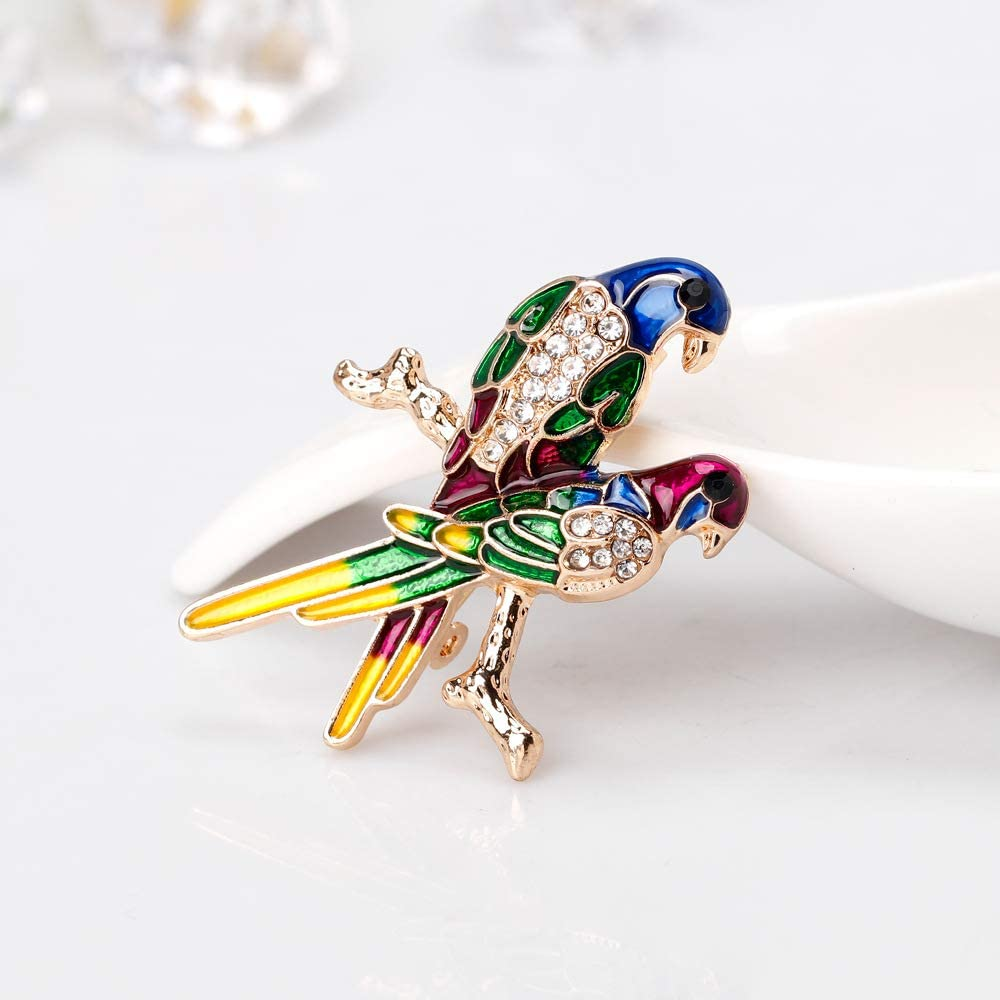 Painted Parrot Brooch pin Bride Brooch YYOGG Fashion Retro Animal Brooch