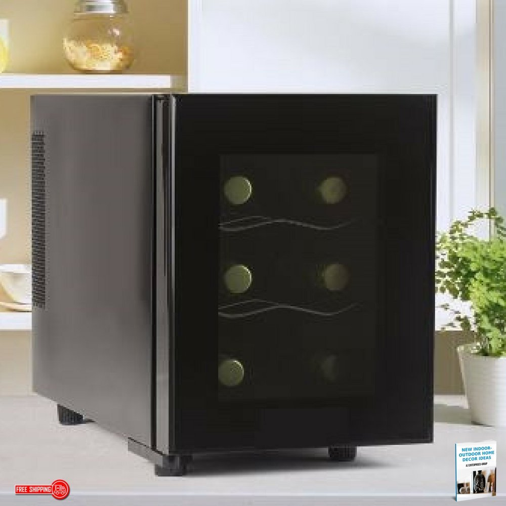 Wine Cooler-Electric Wine Cellar, Low-Noise Compressor, 6-Bottle, Dark Grey, Contemporary Design, Low Power Consumption, 2-Shelf & eBook Home Décor