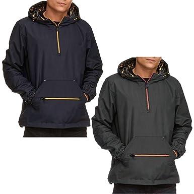 1d532d78f Soulstar Men's Rain Proof 1/4 Zip Pullover Hooded Jacket Coat Kagoul ...
