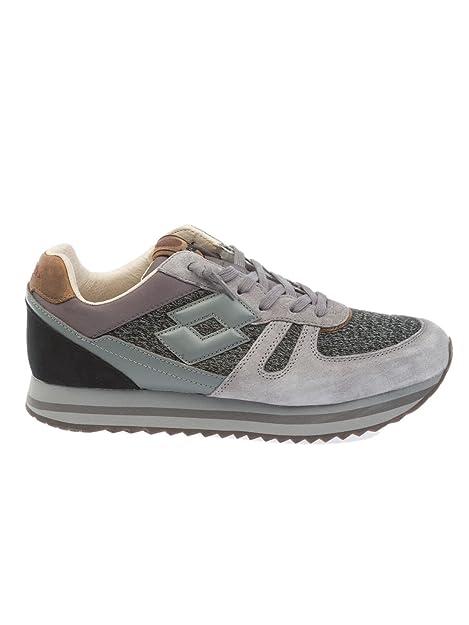 Lotto Men's T0829ASPHALT Grey/Pink Leather Sneakers B0799QKK97
