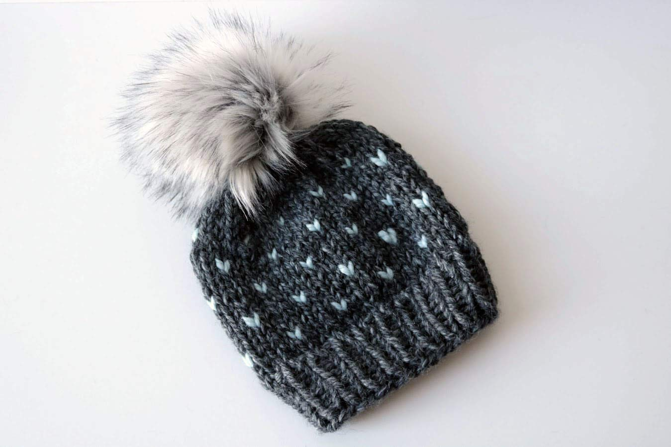 cc6ef249 Amazon.com: Knitted Fair Isle Knit Beanie Hat with Faux Fur Pom Pom  (Adult). Handmade in Chunky, Wool Yarn. Charcoal and Glacier Blue: Handmade
