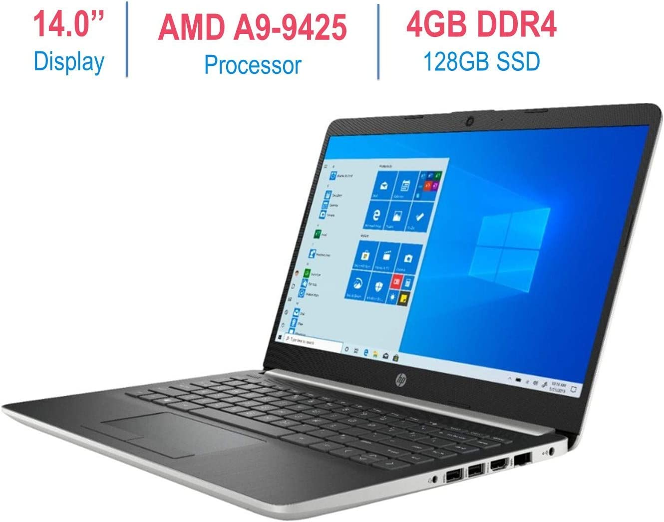 HP Premium 14-inch Micro-Edge Laptop Computer, AMD A9-9425 3.1GHz Processor, 4GB DDR4 RAM, 128GB PCI-e Solid State Drive, USB Type-C, Bluetooth,WiFi, HDMI, Webcam, Windows 10 (Renewed)