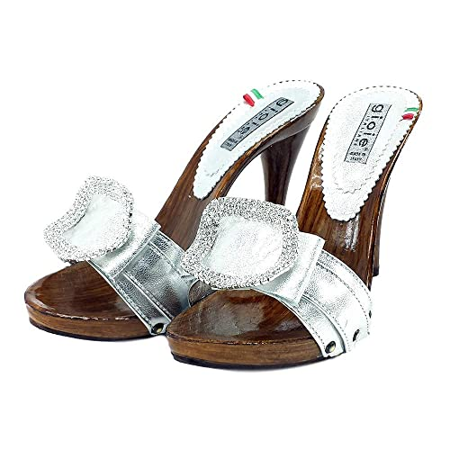 509526d30bacd kiara shoes Silver Clogs in Leather Heel 12-7126 Argento: Amazon.co ...