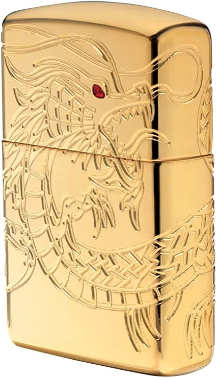 Encendedor Zippo 16400, color cromado, cromado, Armor High polish Gold Plate with Epoxy Inlay (Dragon Multi Cut) , 6.0 x 4.0 x 2.0 cm: Amazon.es: Hogar