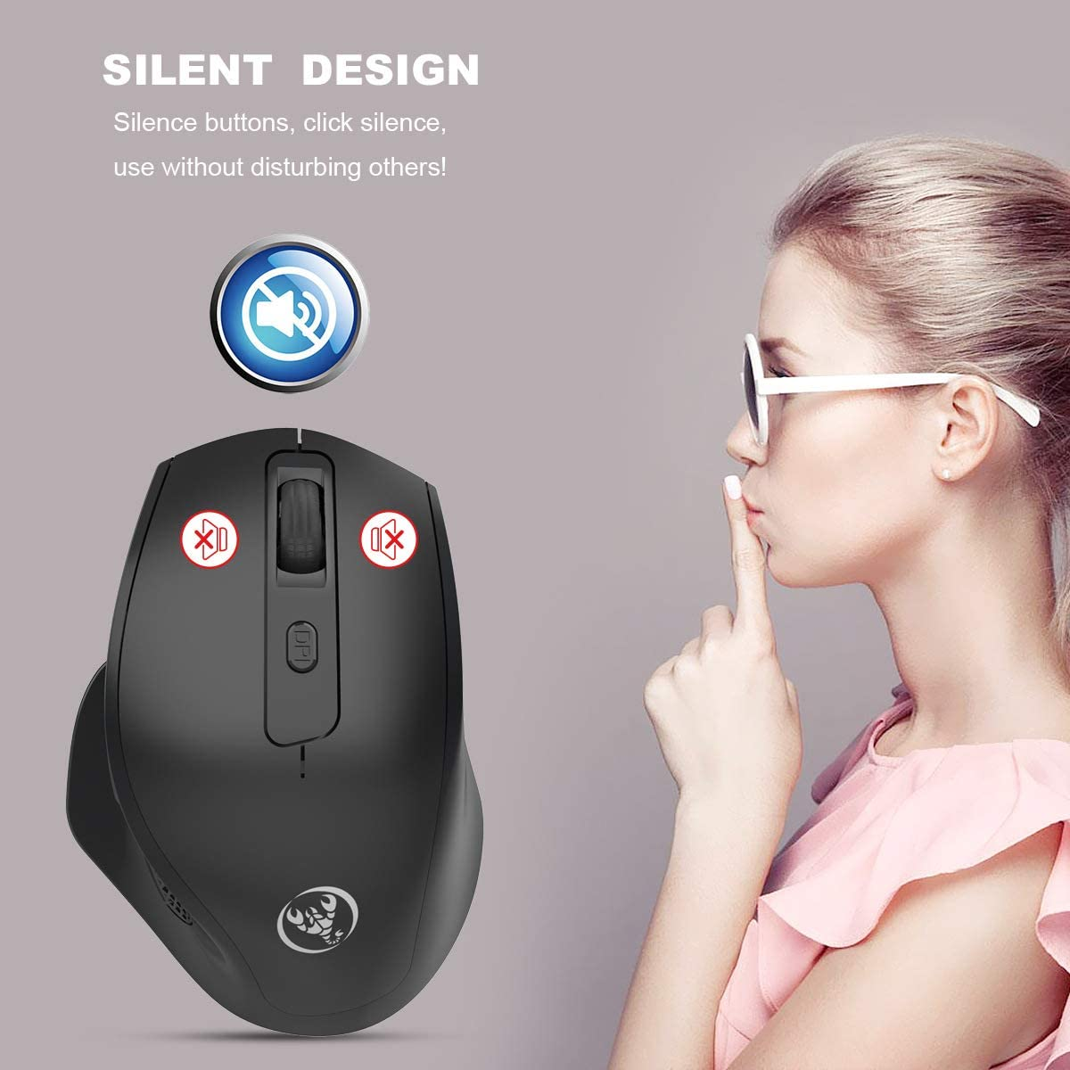 Vertical Wireless Silent Rechargeable Mouse 6 Button Wireless Mouse 2400dpi Adjustable Health Mouse