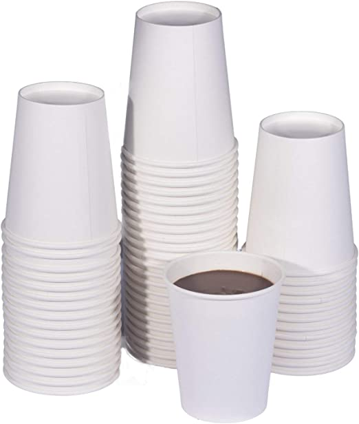 Hot Cocoa Cups 8 oz White Paper Hot Cups 100 Pack Coffee Cups