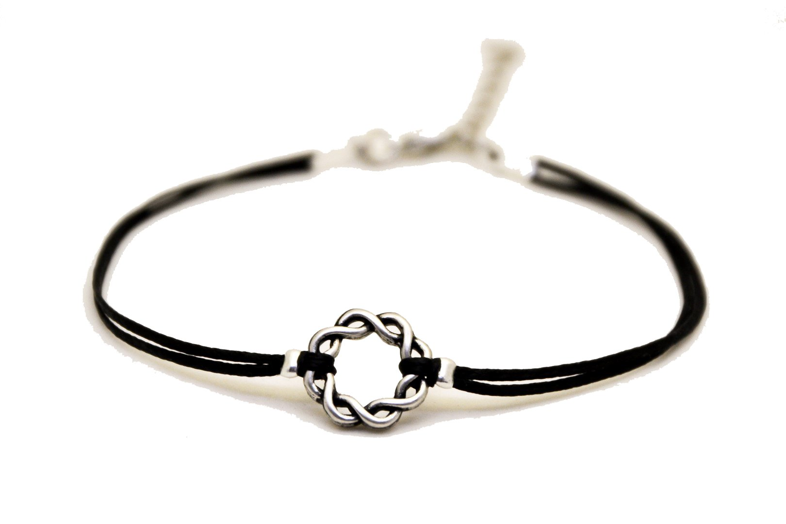 Black anklet Karma anklet with a silver braided circle charm, black ankle bracelet, gift for her, minimalist jewelry, spiritual, yoga