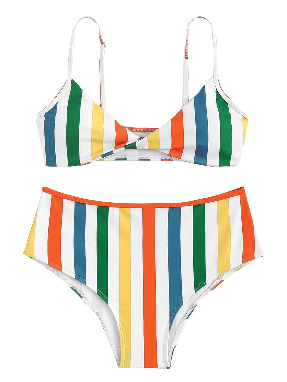 0 stripe SweatyRocks Women's Two Piece Bathing Suit Padded Knot Plaid Bikini Set