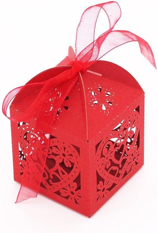 Bonbons f/ür S/ü/ßigkeiten Pixnor Hochzeitsboxen 100 St/ück Paar-Design Rot f/ür Gastgeschenke Geschenk-Gr/ö/ße