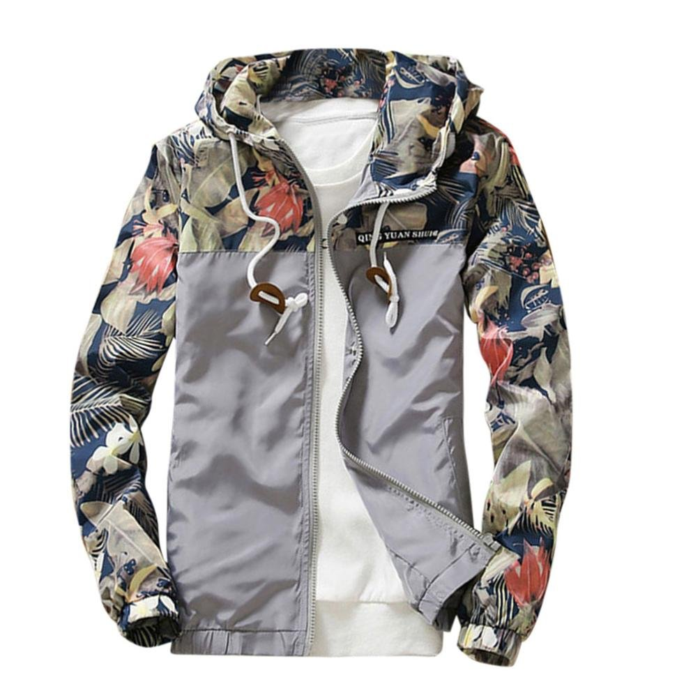 GREFER Men Casual Stand Collar Jackets Fashion Sweatshirt Jacket Tops Coat Outwear Gray