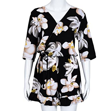5d43aab0818 Amazon.com  Rambling New Women s Sexy V Neck Floral Print Short Sleeve  Casual Fashion Bodycon Jumpsuit Rompers Plus Size  Clothing