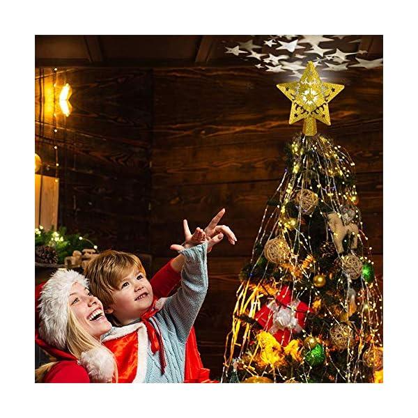 Sulida Luce superiore dell'albero di Natale, stella brillante cava 3D, decorazione per albero di Natale, albero di Natale, proiettore di stella girevole LED luci (oro) 5 spesavip