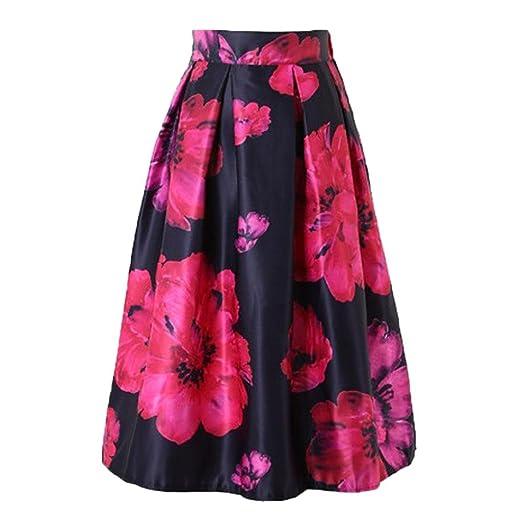 832a268d3f Fabal Woman Flower Bouquet Floral Print High Waist Midi Skirts Mid-Calf  Long Saia Ladies