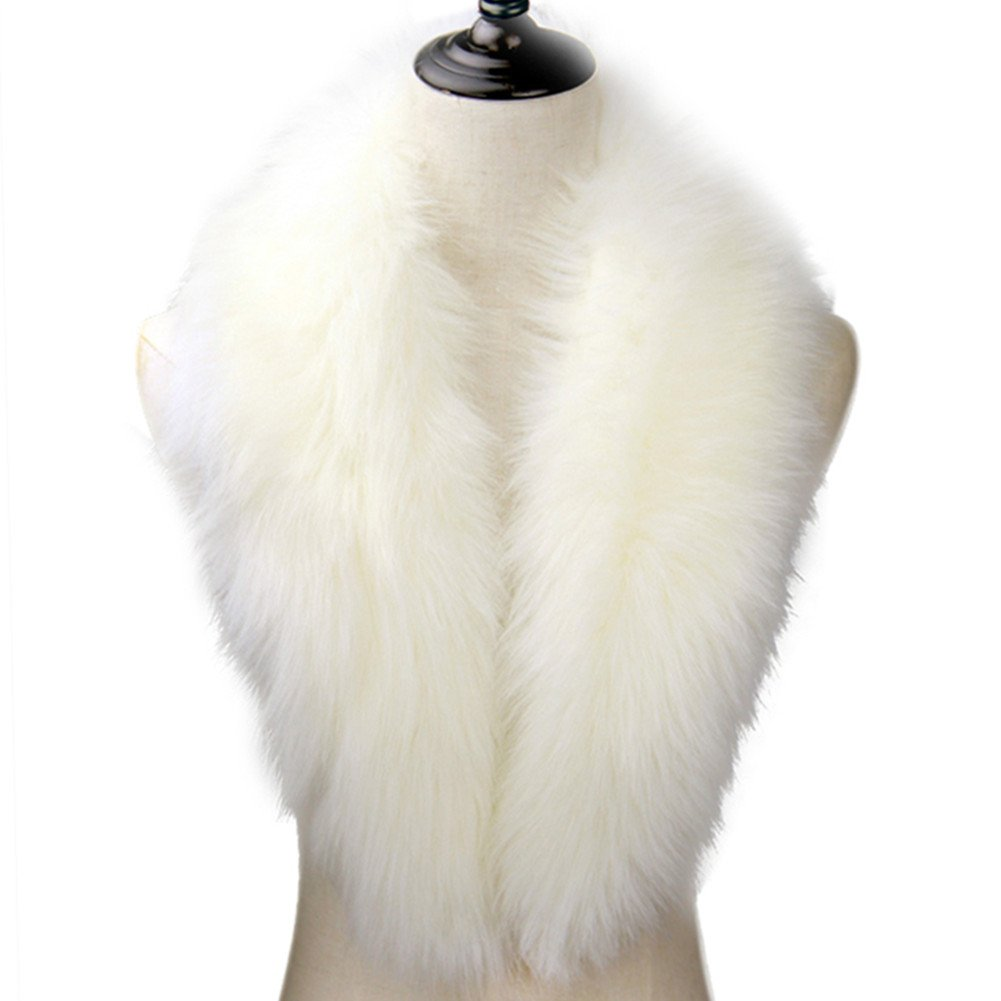 Dikoaina Extra Large Women's Faux Fur Collar for Winter Coat (100cm, White)
