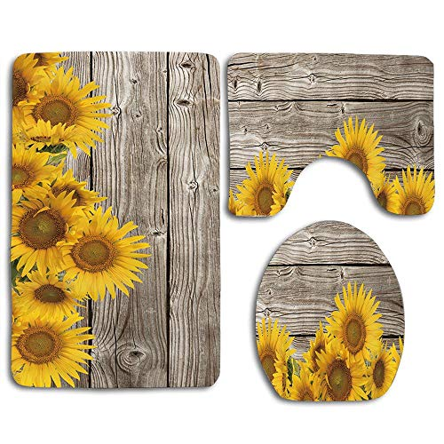 EnmindonglJHO Natural Plant Sunflowers with Leaves on Wooden 3pcs Set Rugs Skidproof Toilet Seat Cover Bath Mat Lid Cover Cushions Pads