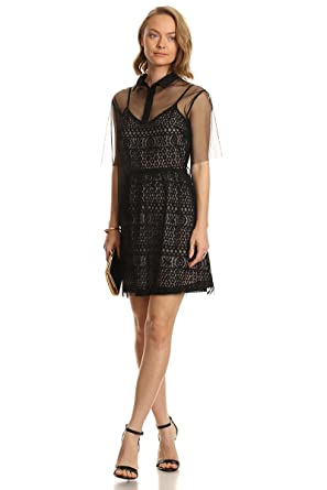 6e8dc089427e MeshMe Womens Blackbell - Baby Black Lace Dress With Mesh Small Shirt Cover