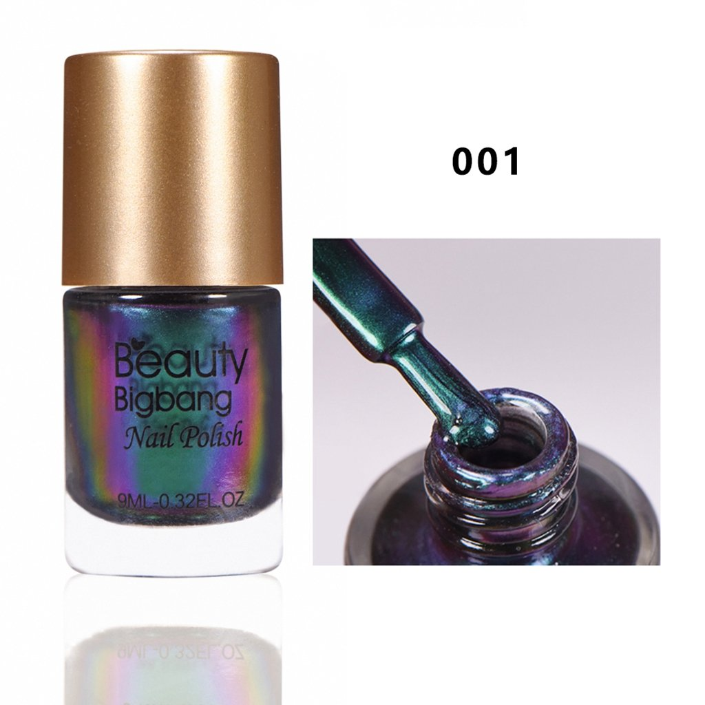 Beautybigbang 9ml Chamäleon Nagellack Nail Polish Glitter Schimmer Metallic Effekt ohne UV 002