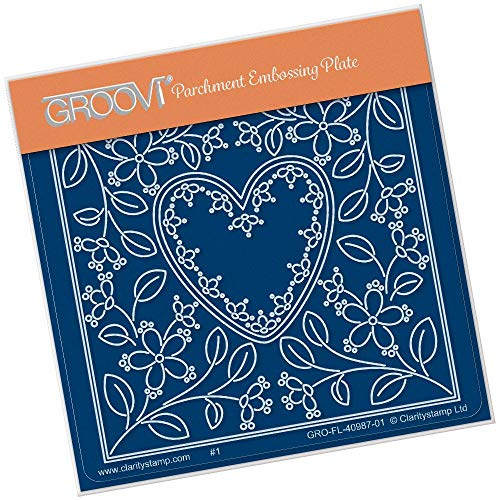 - Groovi Parchment Embossing Plate - Tina's Heart Flower Parchlet Plate - Laser Etched Acrylic for Parchment Craft