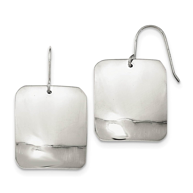 925 Sterling Silver Polished Plain Square Dangle Earrings