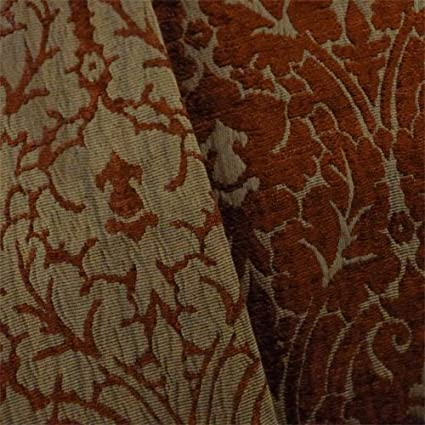 Amazon.com: Amber/Brown Chenille Damask Home Decorating Fabric ...