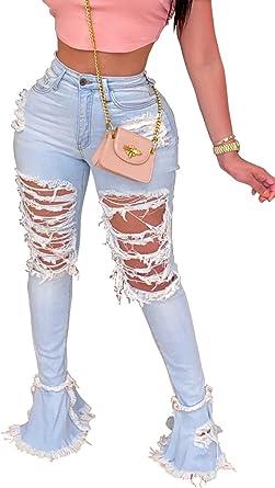 Amazon Com Pantalones Rotos Acampanados Para Mujer Con Cintura Elastica Y Dobladillo Deshilachado Clothing
