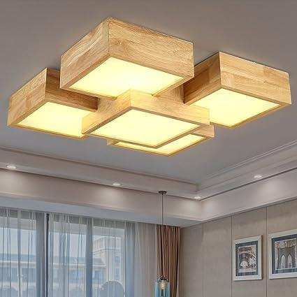Lámpara De Techo LED De Madera Maciza Techo Lámpara Cuadrada ...