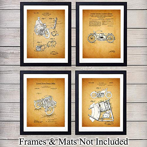 (Harley Davidson Sidecar Patent Wall Art Prints - Set of Four (8x10) Ready to Frame Vintage Photos - Perfect Gift For Motorcycle Enthusiasts - Man Cave Display - Great For Home Decor)