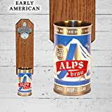 Wall Mounted Bottle Opener with Vintage Alps Beer Can Cap Catcher